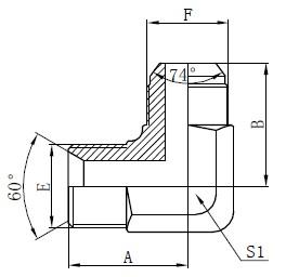 Чертеж на хидравлични адаптери BSP