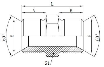 BSP мъжки адаптер фитинги чертеж