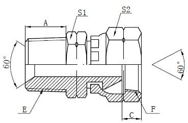 NPSM адаптер фитинги чертеж
